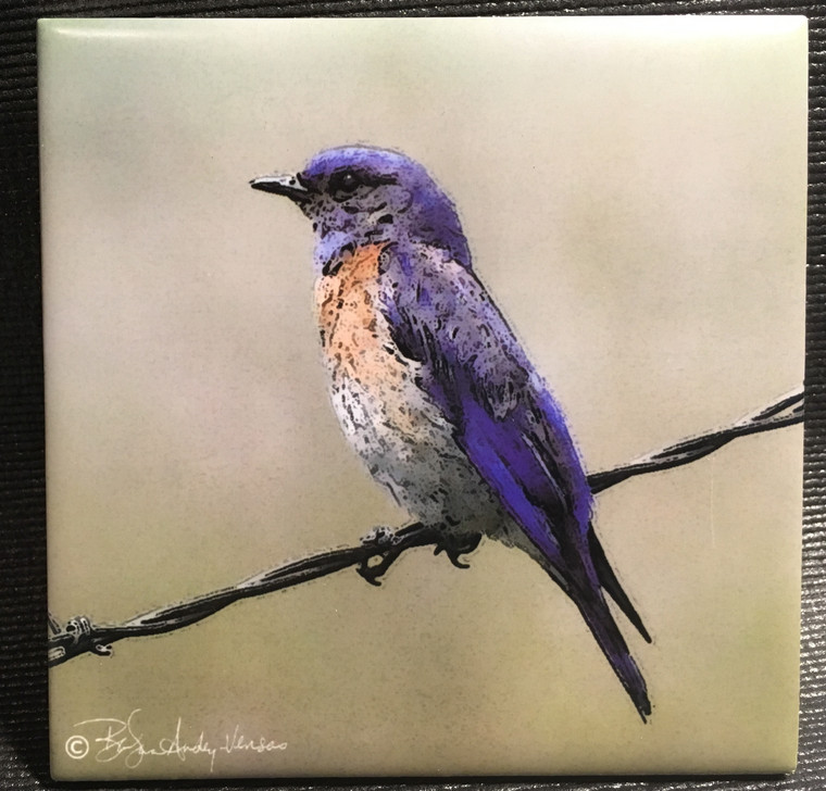Ceramic Tile or Coaster - Bluebird  4.25 In x 4.25 In