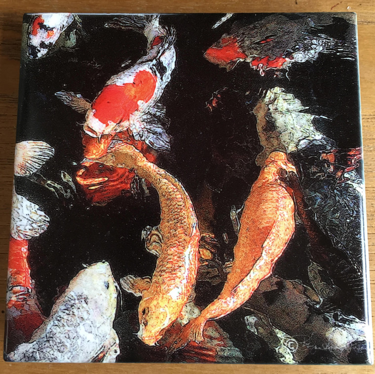 Ceramic Tile or Coaster - Koi 4.25 In x 4.25 In