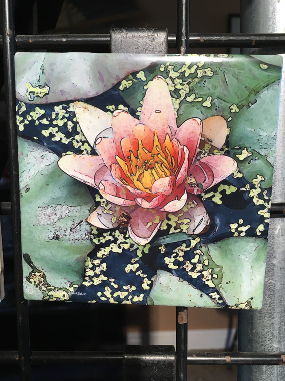 Ceramic Tile or Coaster - Pink Lily 4.25 In x 4.25 In