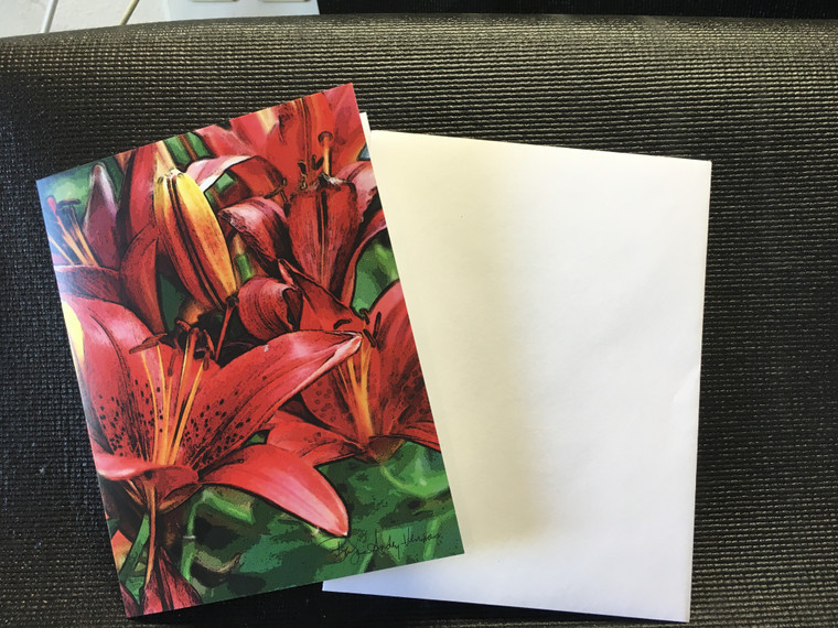 10 Red Asian Lily Blank Note Cards