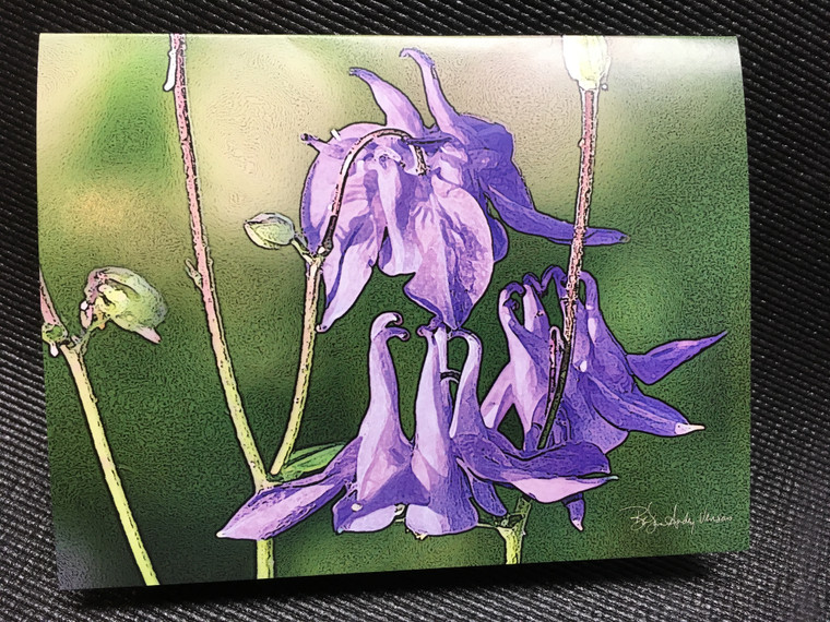 10 Blue Columbine Blank Note Cards