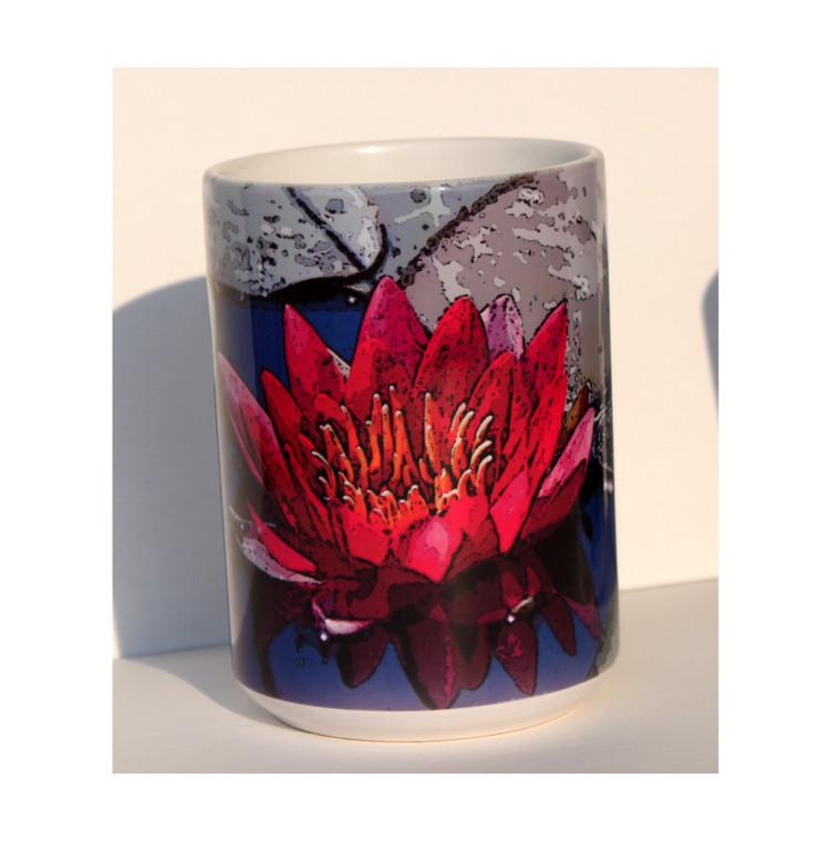 Red Lily Art Large Coffee Mug 15 oz