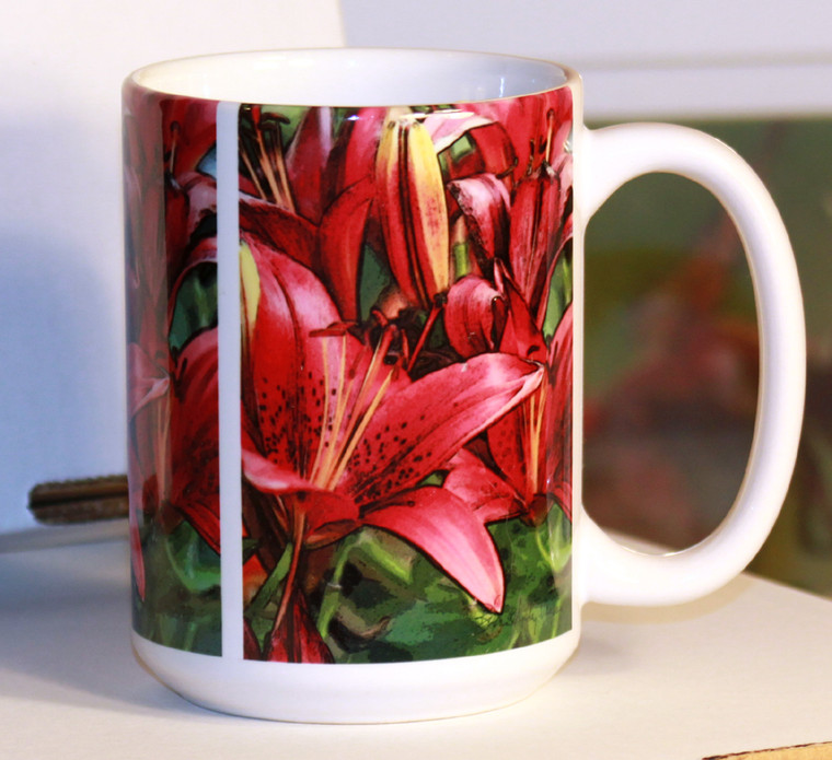 Red Asian Lily Art Large Coffee Mug 15 oz