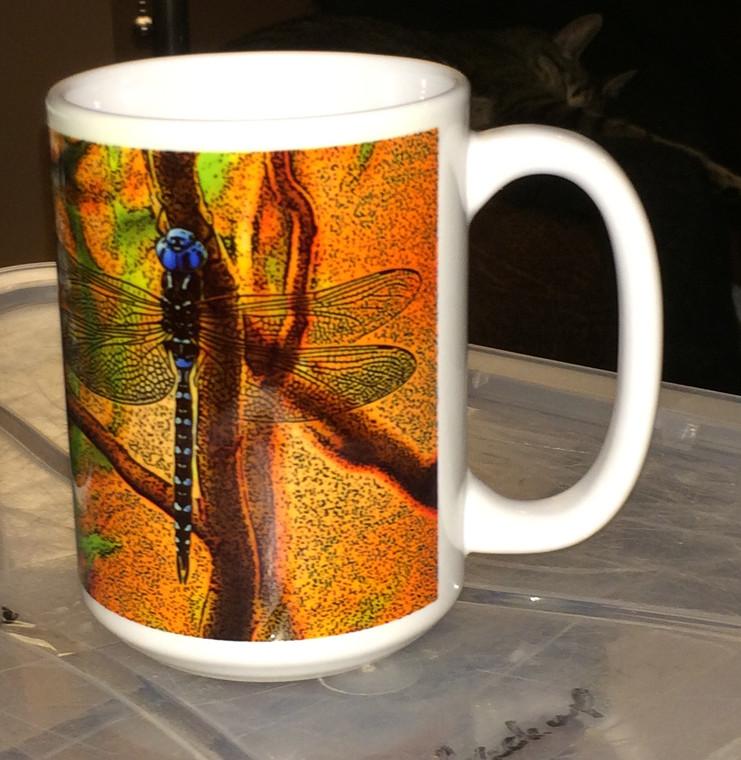 Blue Dragonfly Large Coffee Mug 15 Oz.