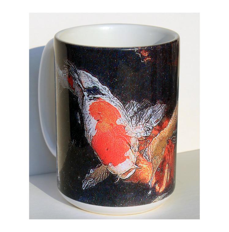 Koi Art Large Coffee Mug 15 oz