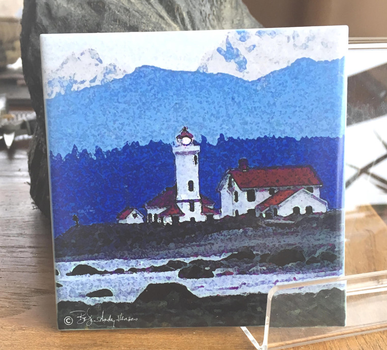 Ceramic Tile or Coaster - Point Wilson Lighthouse Port Townsend, WA 4.25 in x 4.25 in