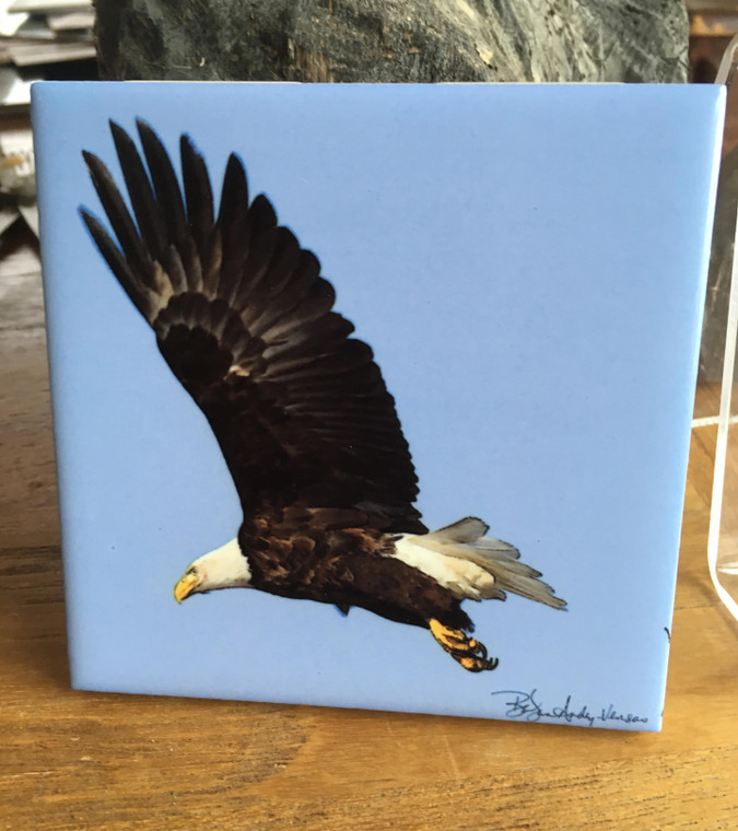 Ceramic Tile  - Winter Eagle Flying 4.25 in x 4.25 in