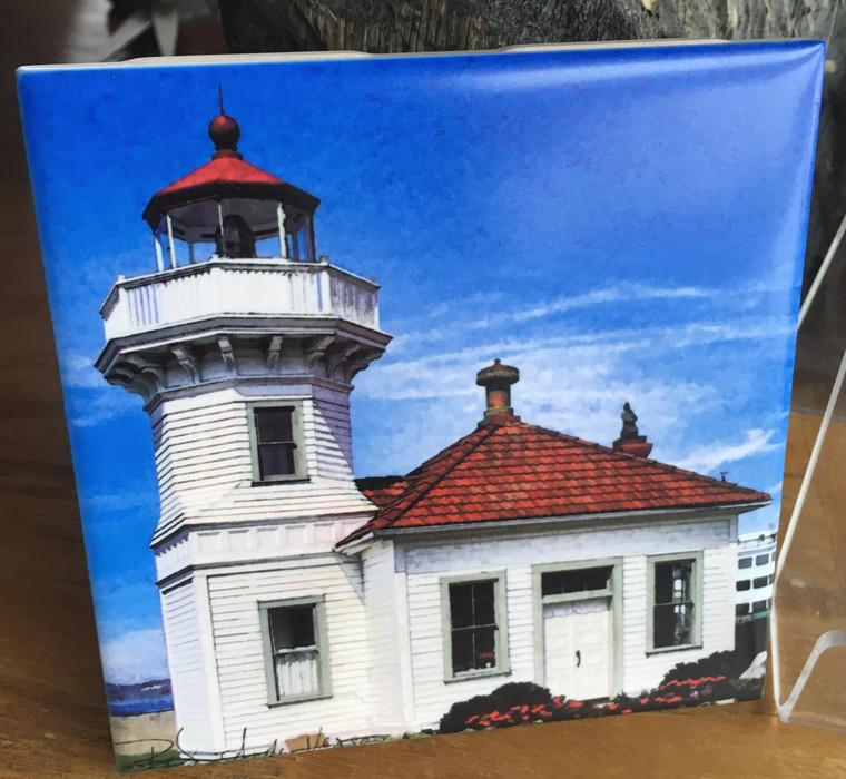 Ceramic  Tile - Mukilteo Lighthouse 4.25 in x 4.25 in