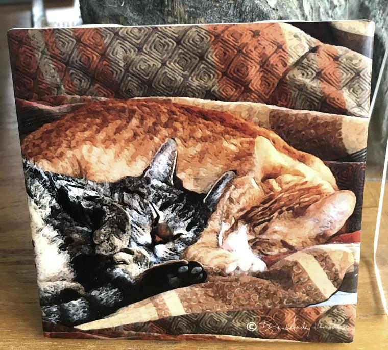 Ceramic Tile  - Cats - Best Friends 4.25 in x 4.25 in