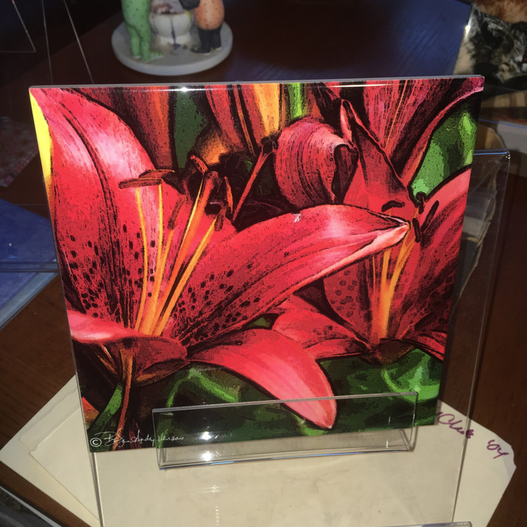 Decorative Tile - Red Asian Lily 8 In x 8 In