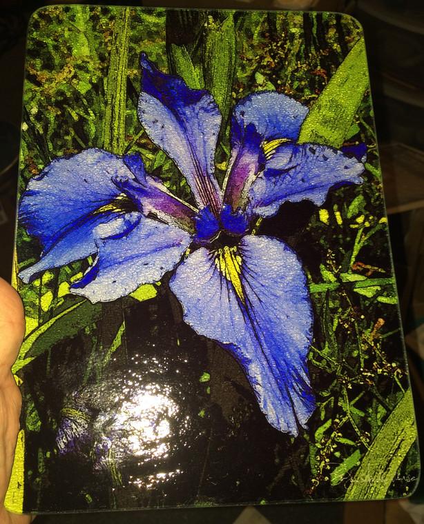 Blue Iris Glass Cutting Board - 7.75in  x 10.75in