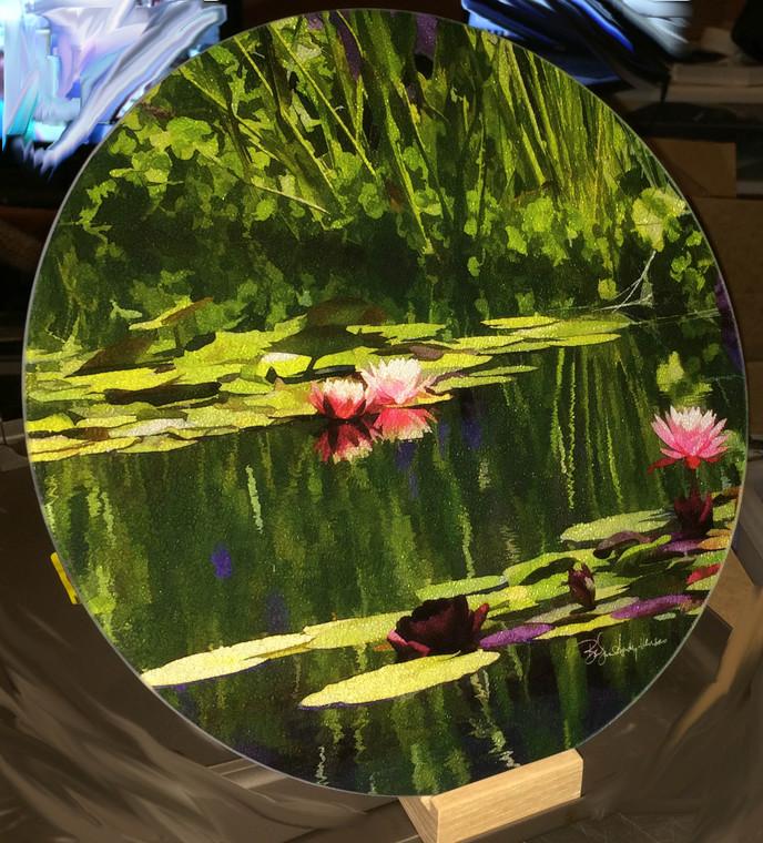 Pondscape -Round Glass Cutting Board Large -  12 in diameter