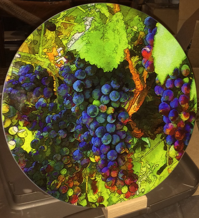 Grape Vine Round Glass Cutting Board Large -  12 in diameter