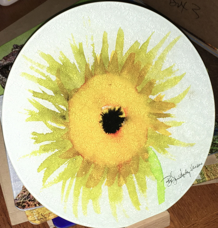 Sunflower Round Glass Cutting Board, Cheese Plate or Trivet - 12 in diameter