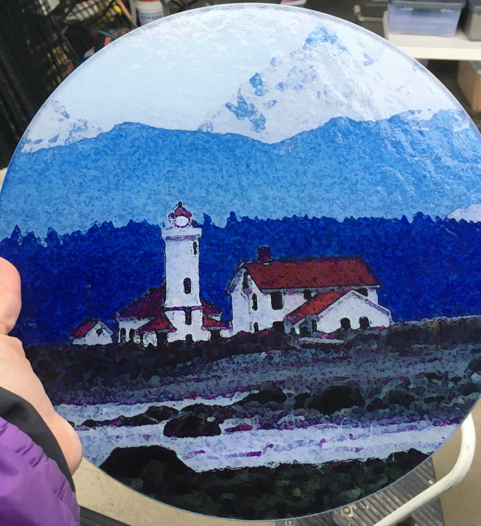 Lighthouse - Port Townsend Round Glass Cutting Board Large -12 in diameter