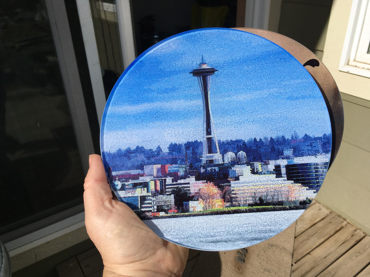 Round Glass Cutting board Seattle Space Needle- 8 in diameter (small)