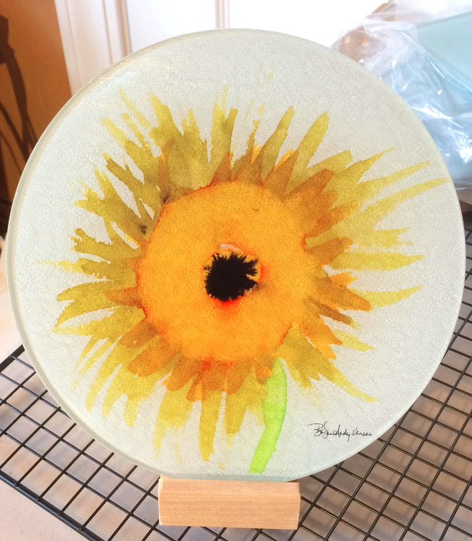 Round Glass Cutting Board - Sunflower  - 8 inch
