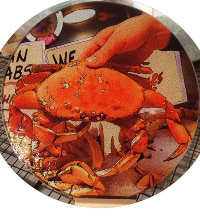 Round Glass Cutting Board - Dungeness Crab  -  8 inch