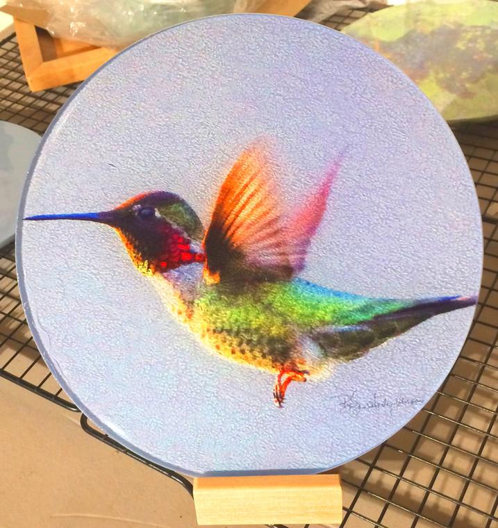 Round Glass Cutting Board  - Anna's Hummingbird Flying- 8 inch