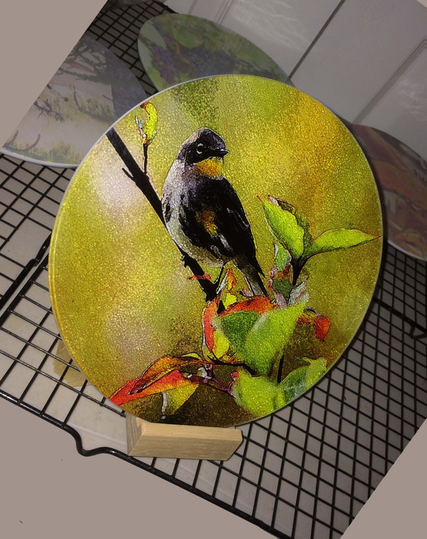 Round Glass Cutting Board - Warbler -  8 inch
