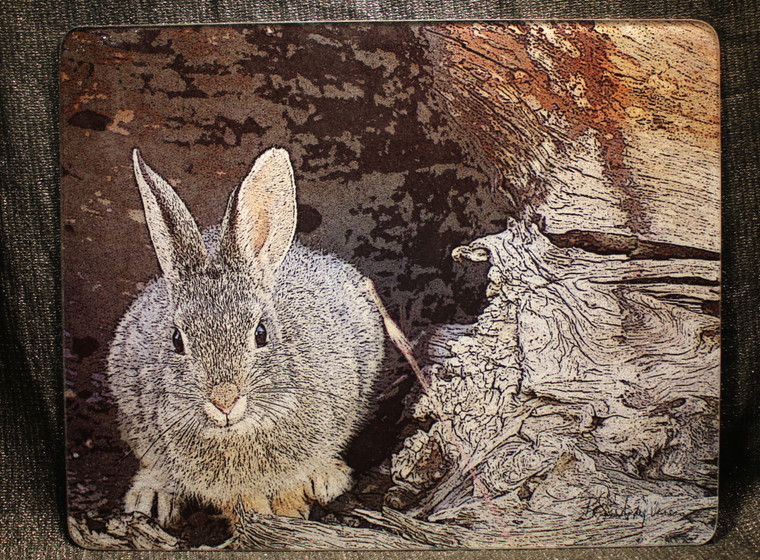 Mountain Cottontail Large Glass Cutting Board -  12 in  x 15 in