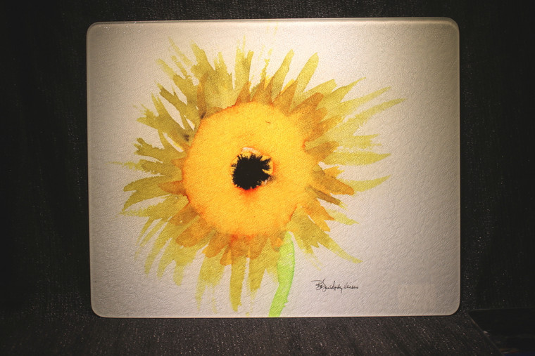Sunflower Glass Cutting Board Large - 12 in  x 15 in