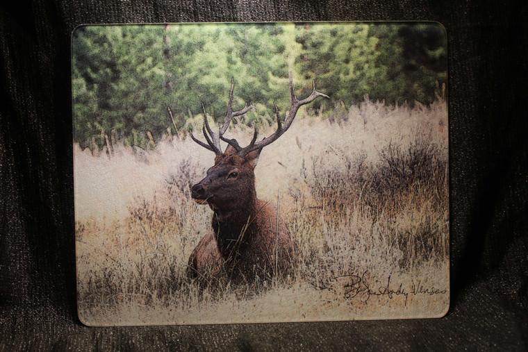 Elk Sitting Glass Cutting Board Large -  12 in x 15 in