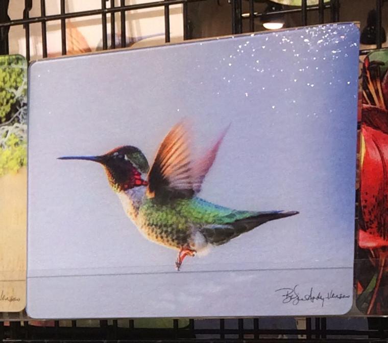 Anna's Hummingbird Flying - Glass Cutting Board Large - 12 in x 15 in