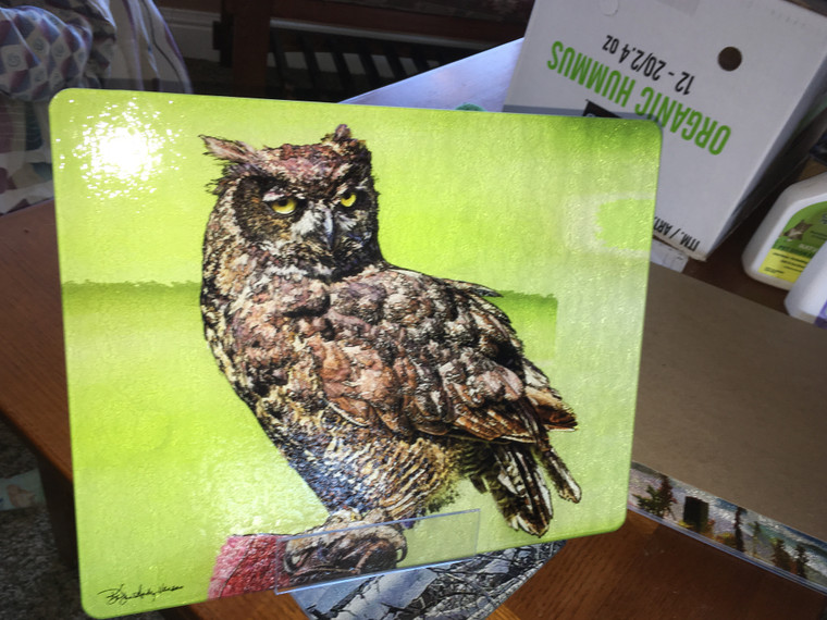 Great Horned Owl Female -Large Glass Cutting Board -  12 in x 15 in