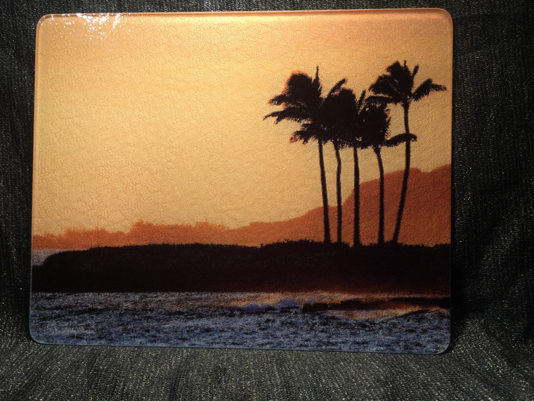 Hawaiian Sunset Large Glass Cutting Board 12 in x 15 in