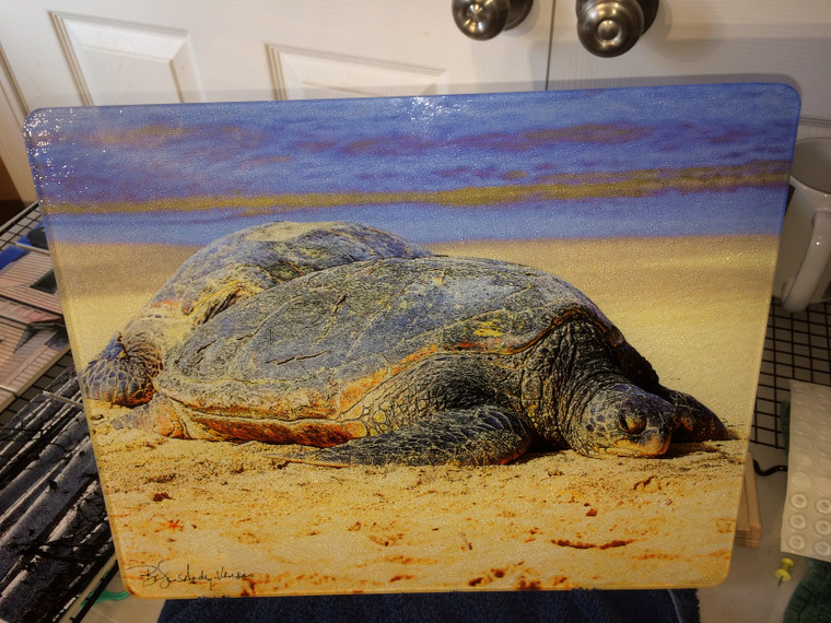 Sea Turtle Large Glass Cutting Board  - 12 in x 15 in