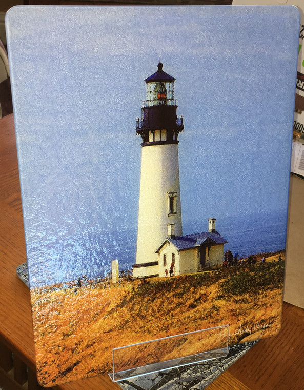 Yaquina Head Light - Large Glass Cutting Board - 12 in x 15 in