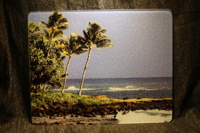 Hawaiian Beach - Large Glass Cutting Board - 12 in x 15 in