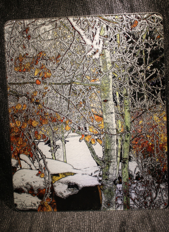 Winter Aspen - Large Glass Cutting Board -  12 in x 15 in
