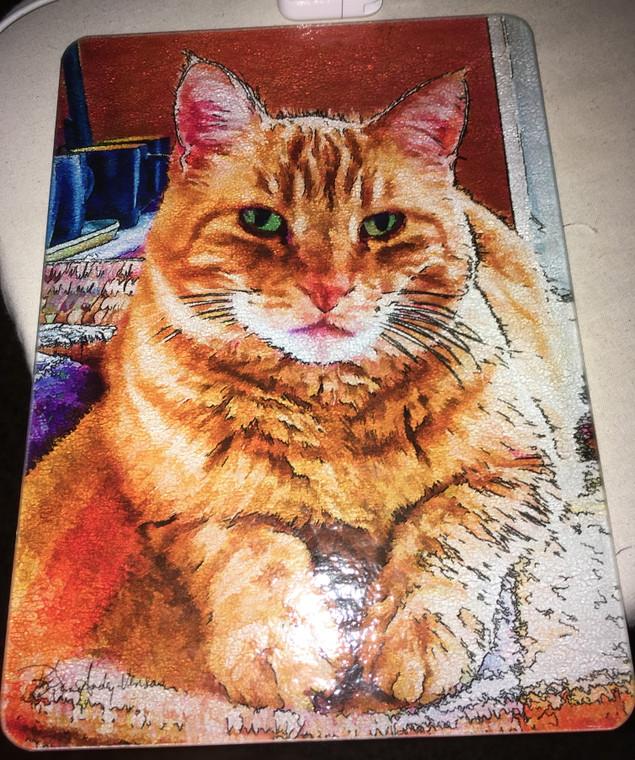 Cat Cutting Board -  Marmalade  10.75 in x 7.75 in