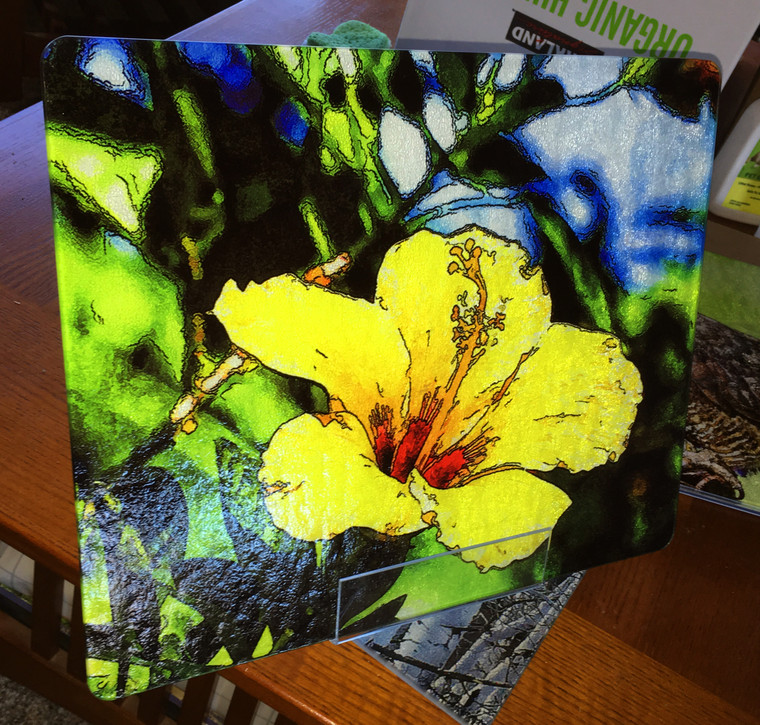 Yellow Hibiscus Large Glass Cutting Board - 12 in x 15 in