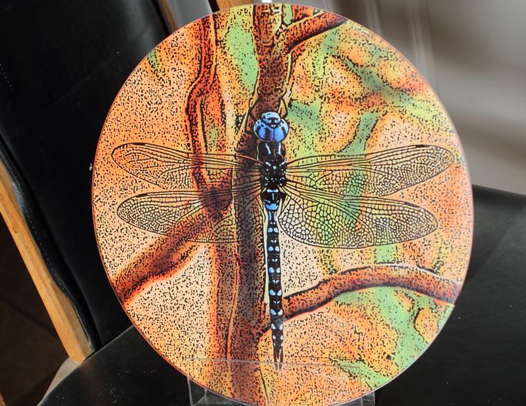 Blue Dragonfly Round Glass Cutting Board -   12 inch