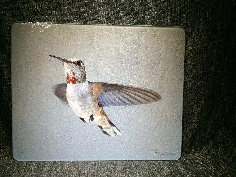 Rufous Hummingbird Glass Cutting Board Large -  12 in x 15 in