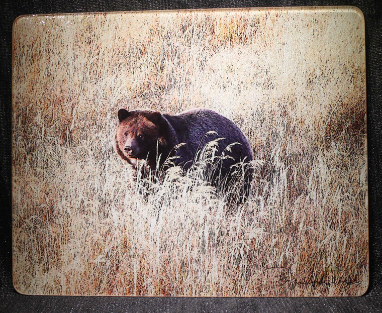Grizzly Bear Large Glass Cutting Board - 12in  x 15in