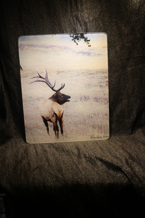 Elk Standing Large Glass Cutting Board - 12 in x 15 in