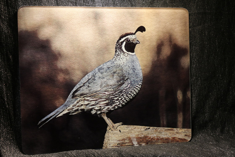 California Quail Large Glass Cutting Board -  12 in x 15 in