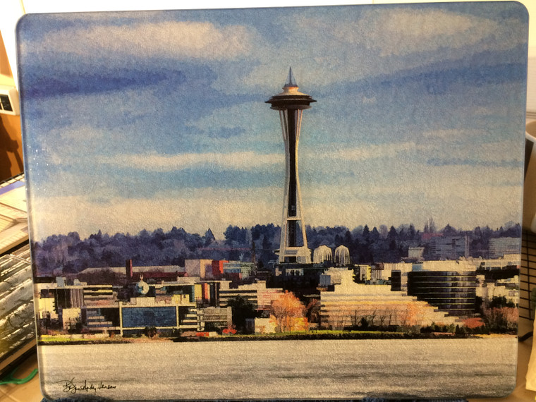 Space Needle Art - Glass Cutting Board Large - 12 in x 15 in