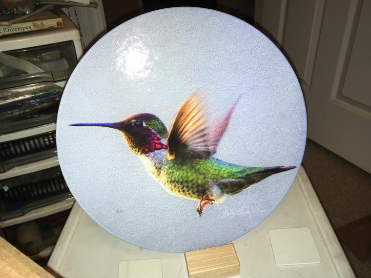 Anna's Hummingbird Round Glass Cutting Board Large - 12 in diameter