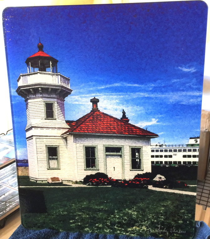 Mukilteo Lighthouse Glass Cutting Board Large -  12 in x 15 in