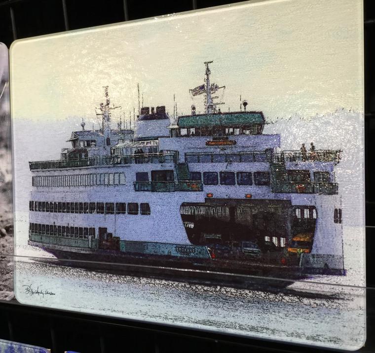 Ferry Spokane - Glass Cutting Board Large - 12 in x 15 in