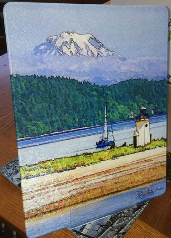 Gig Harbor Light - Large Glass Cutting Board - 12 in x 15 in
