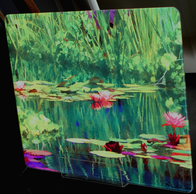 Pondscape Glass Cutting Board Large -  12 in x 15 in - Portrait or Landscape