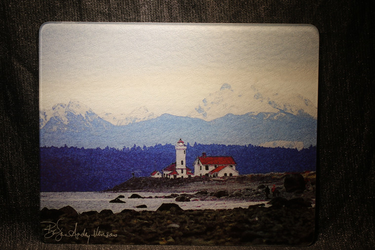 Lighthouse Port Townsend Large Glass Cutting Board -  12 in x 15 in