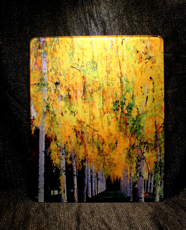 Fall Birch - Large Glass Cutting Board -  12 in x 15 in