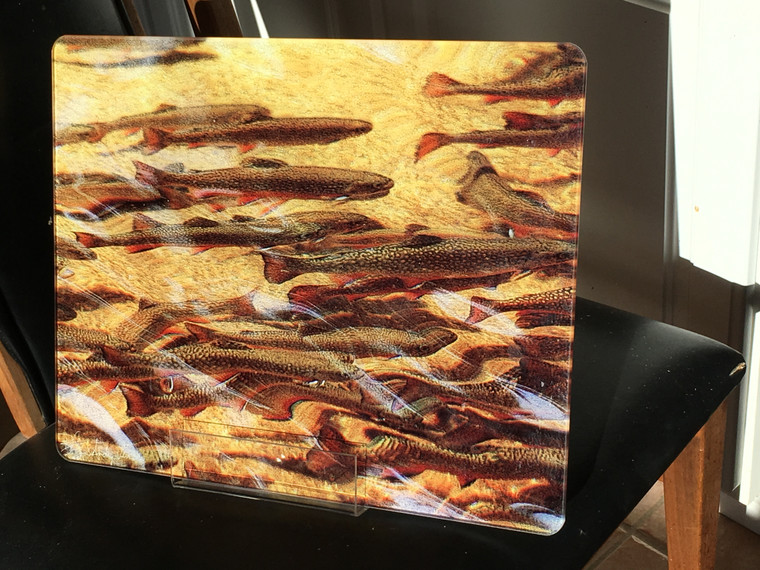 Trout Dream - Glass Cutting Board Large - 12 in x 15 in